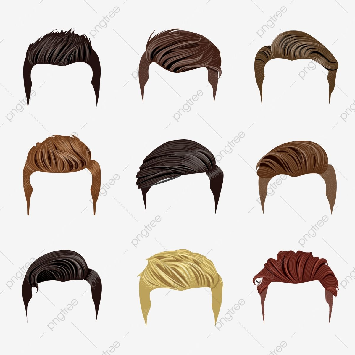 Set Of Men S Hairstyles Hair Clipart Hair Hairstyles Png And Vector With Transparent Background For Free Download In 2021 Hair Vector Hair Illustration Drawing Male Hair