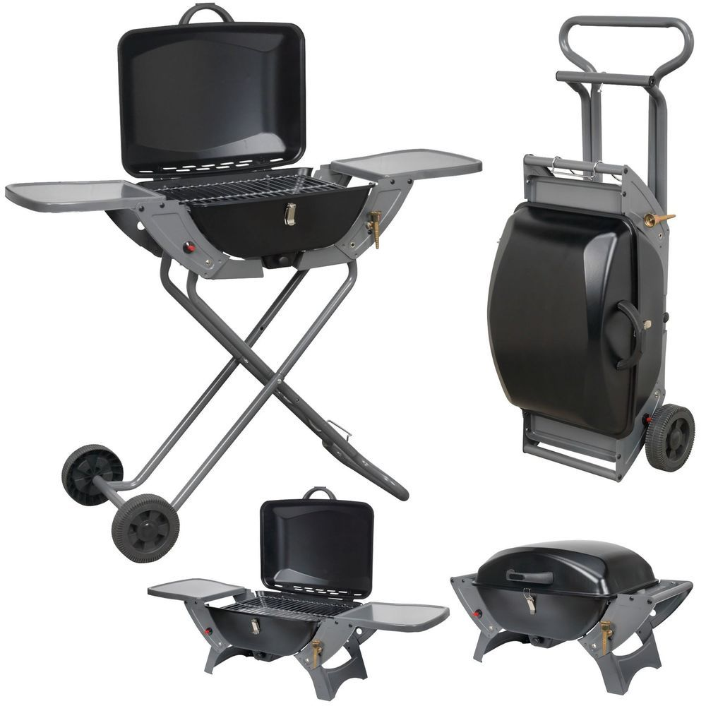 Folding gas barbecue combo bbq trolley portable picnic