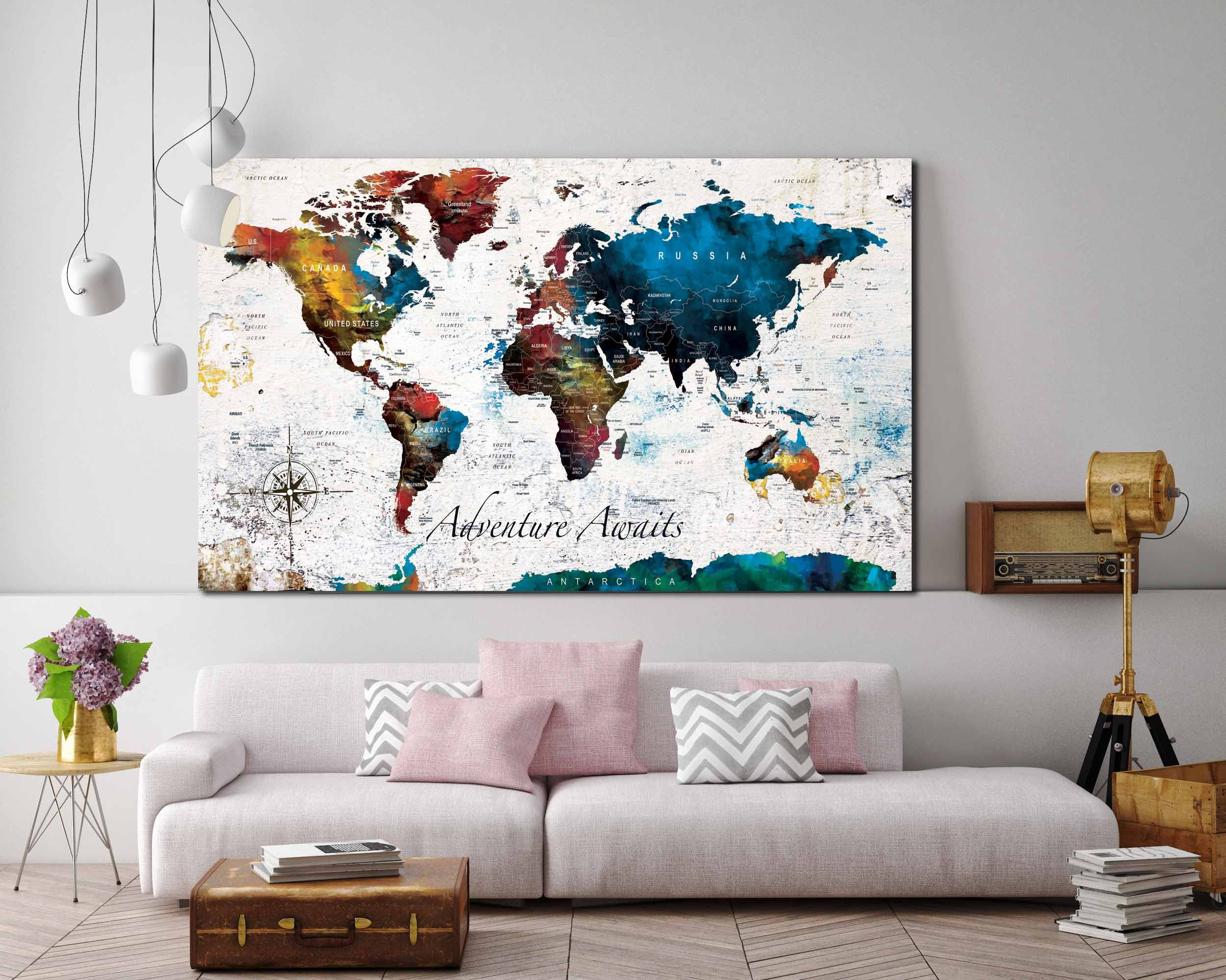 What A Wonderful World Poster Print World Map Poster World Etsy Map Canvas Print World Map Canvas Personalized Map Art