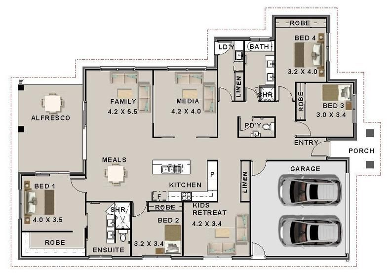 House Plans 270 5 M2 4 Bed House Plan 4 Bedroom Modern 4 Etsy Family House Plans Affordable House Plans House Plans