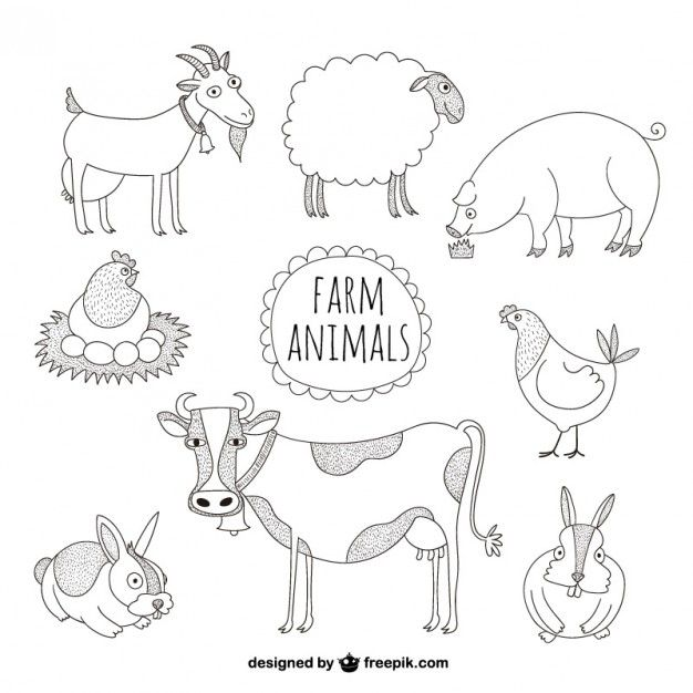 Download Farm Animals Illustrations For Free Easy Animal Drawings Easy Animals Animal Illustration