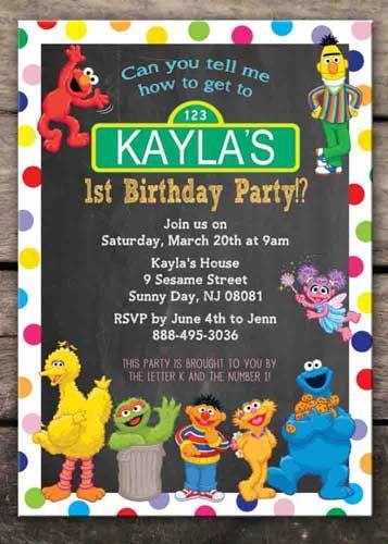sesame street birthday party invitation | piñatamigue2 | pinterest, Party invitations