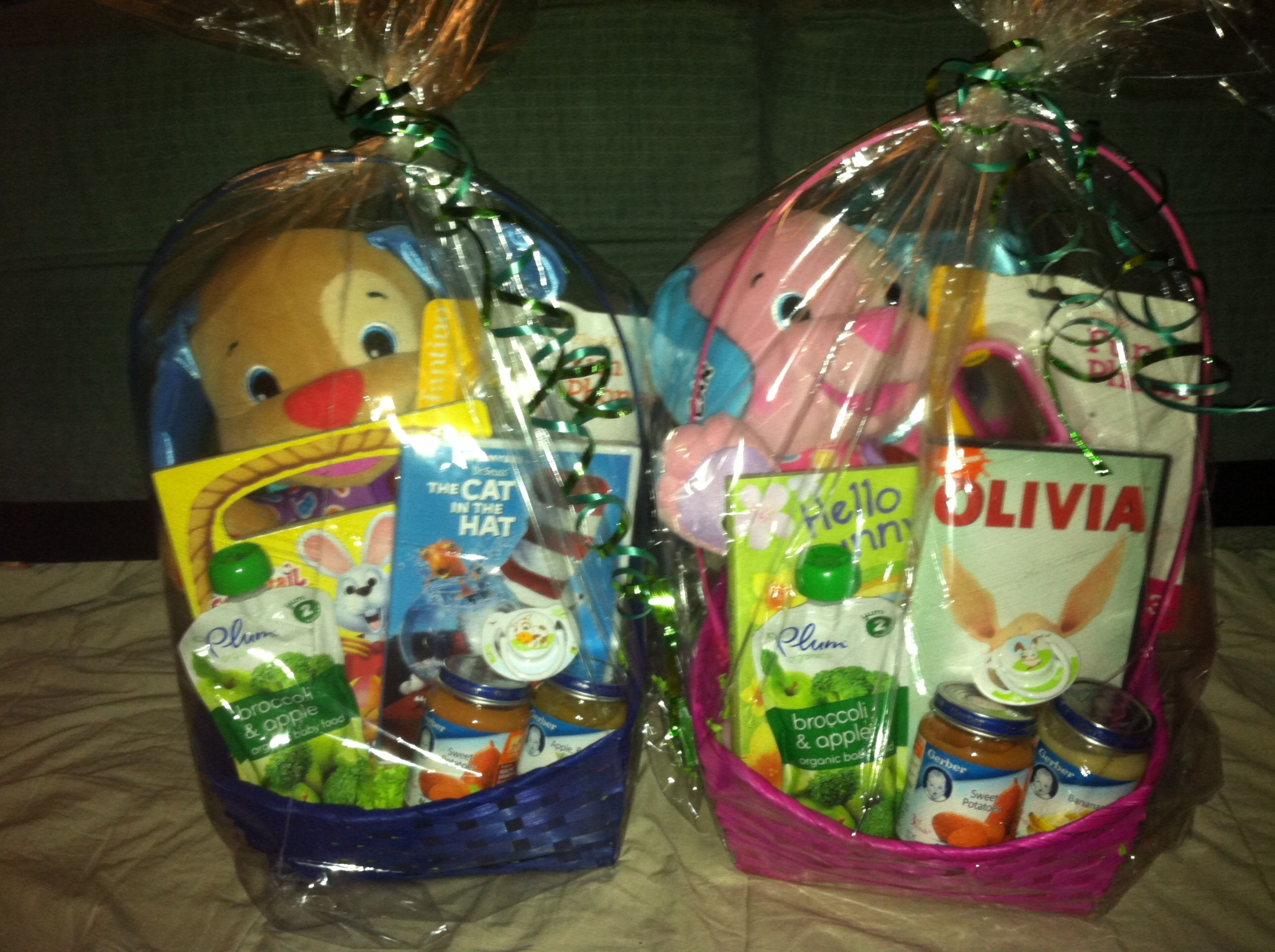 The twins first easter baskets easter baskets easter and twins easter basket for baby boy andor girl twins 9 months old negle Image collections