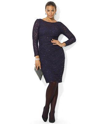 Lauren Ralph Lauren Plus Size Long Sleeve Sequined Lace Dress