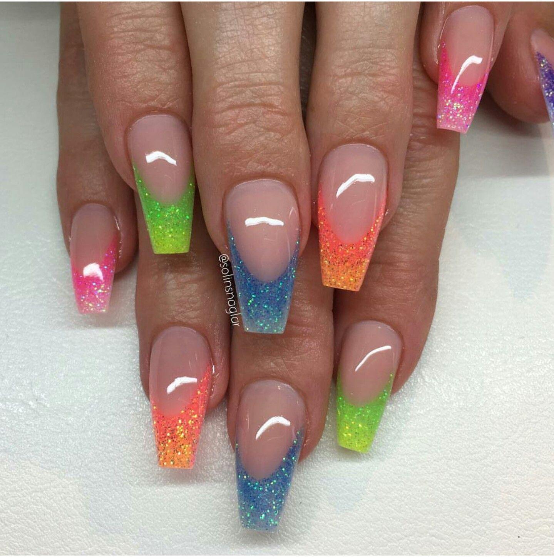 Glitter tips, coffin shaped nails | Nail art | Pinterest | Nail nail ...