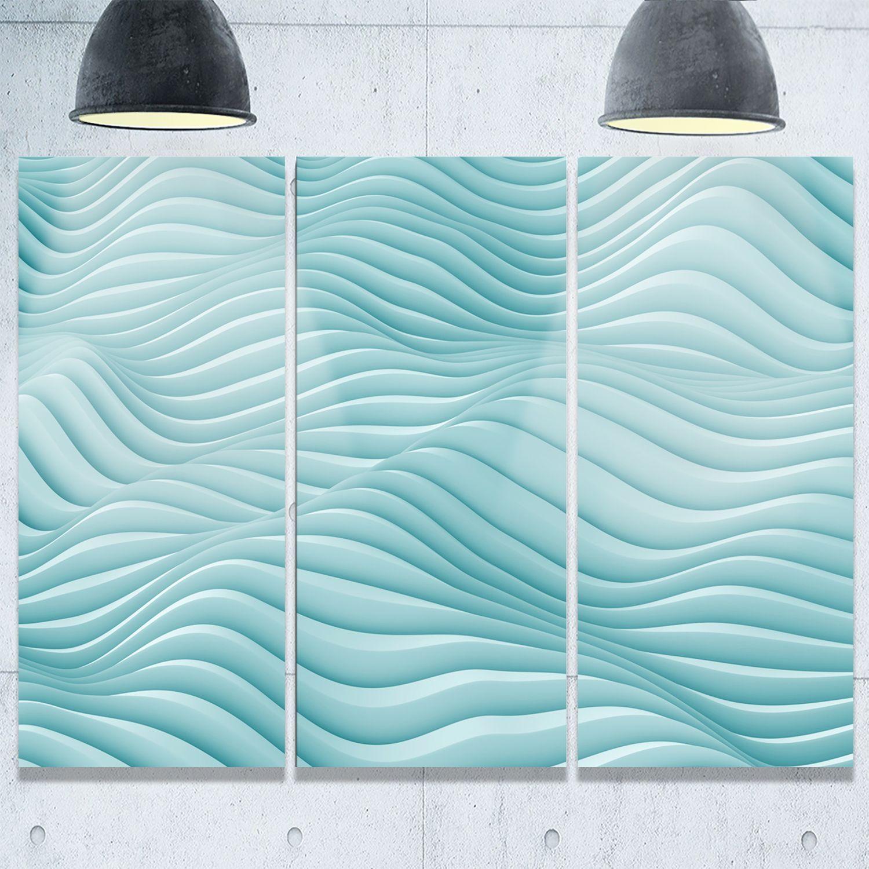 Fractal rippled d waves abstract art glossy metal wall art