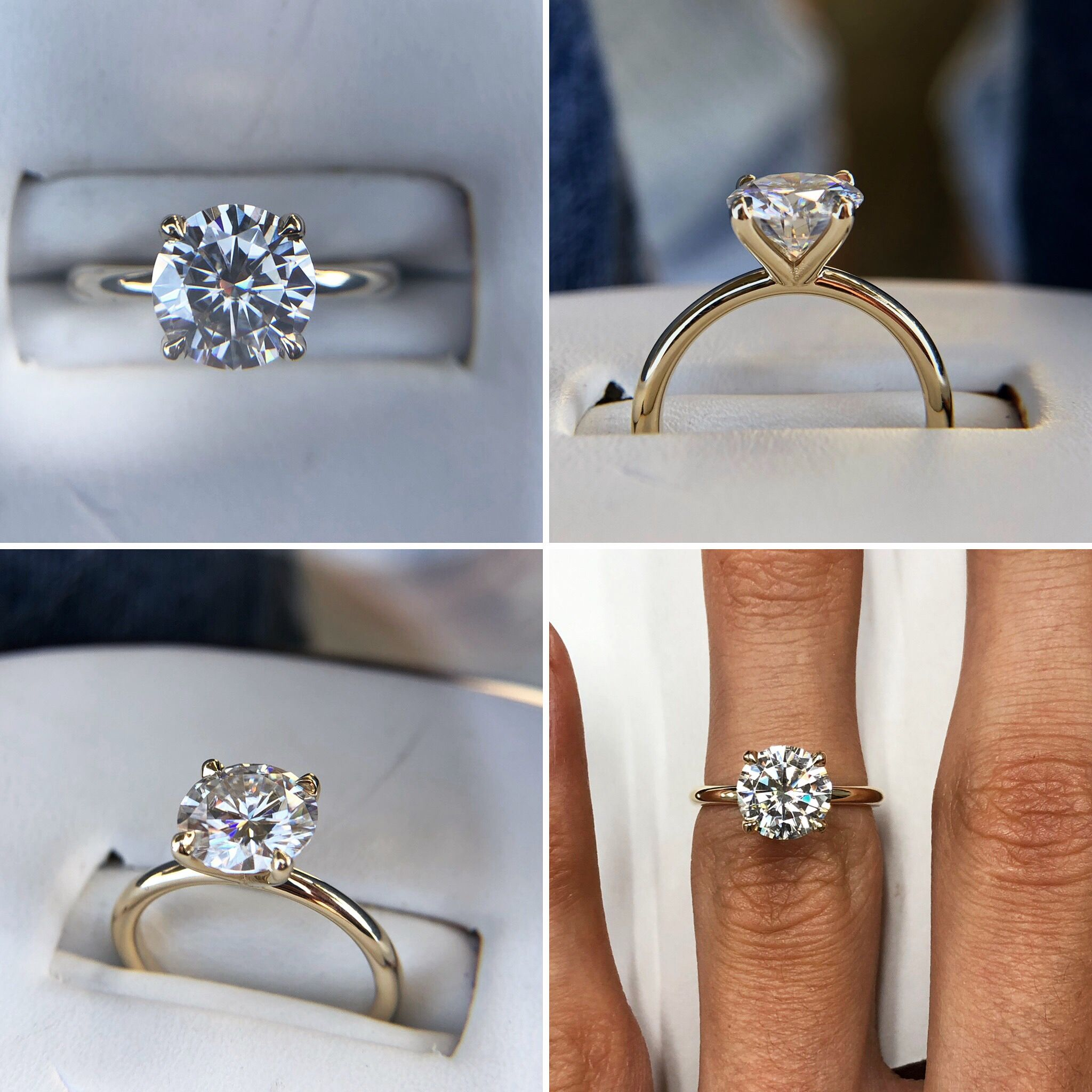 Gia 2 Carat Round Diamond Solitaire Ring 14k White Gold Moissanite Engagement Ring Solitaire Yellow Engagement Rings Rose Gold Engagement Ring