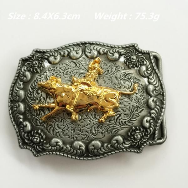 Gold Cowboy Rodeo Bull Riding Belt Buckle | Riding belts