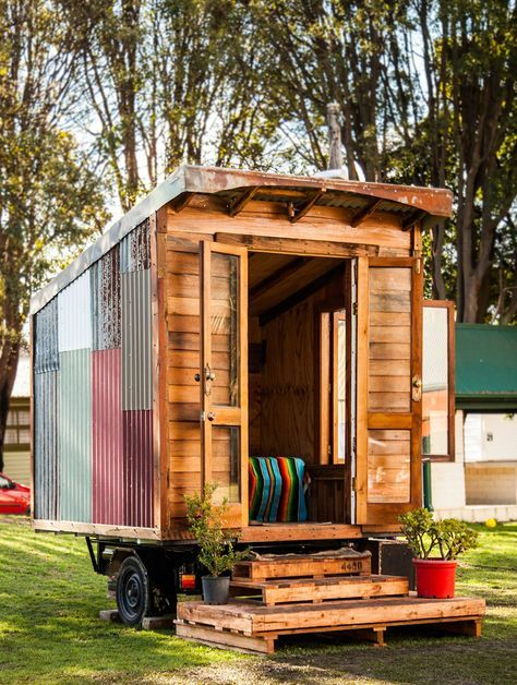 A Tiny House Mounted To A Box Trailer And Made From 95
