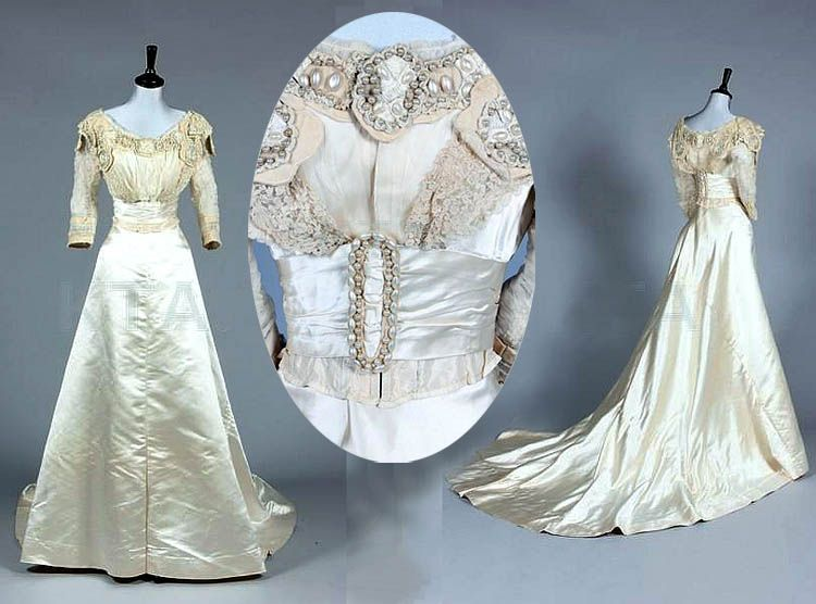 Wedding gown, Fred Bosworth, ca. 1900-14. Ivory satin with pearl ...