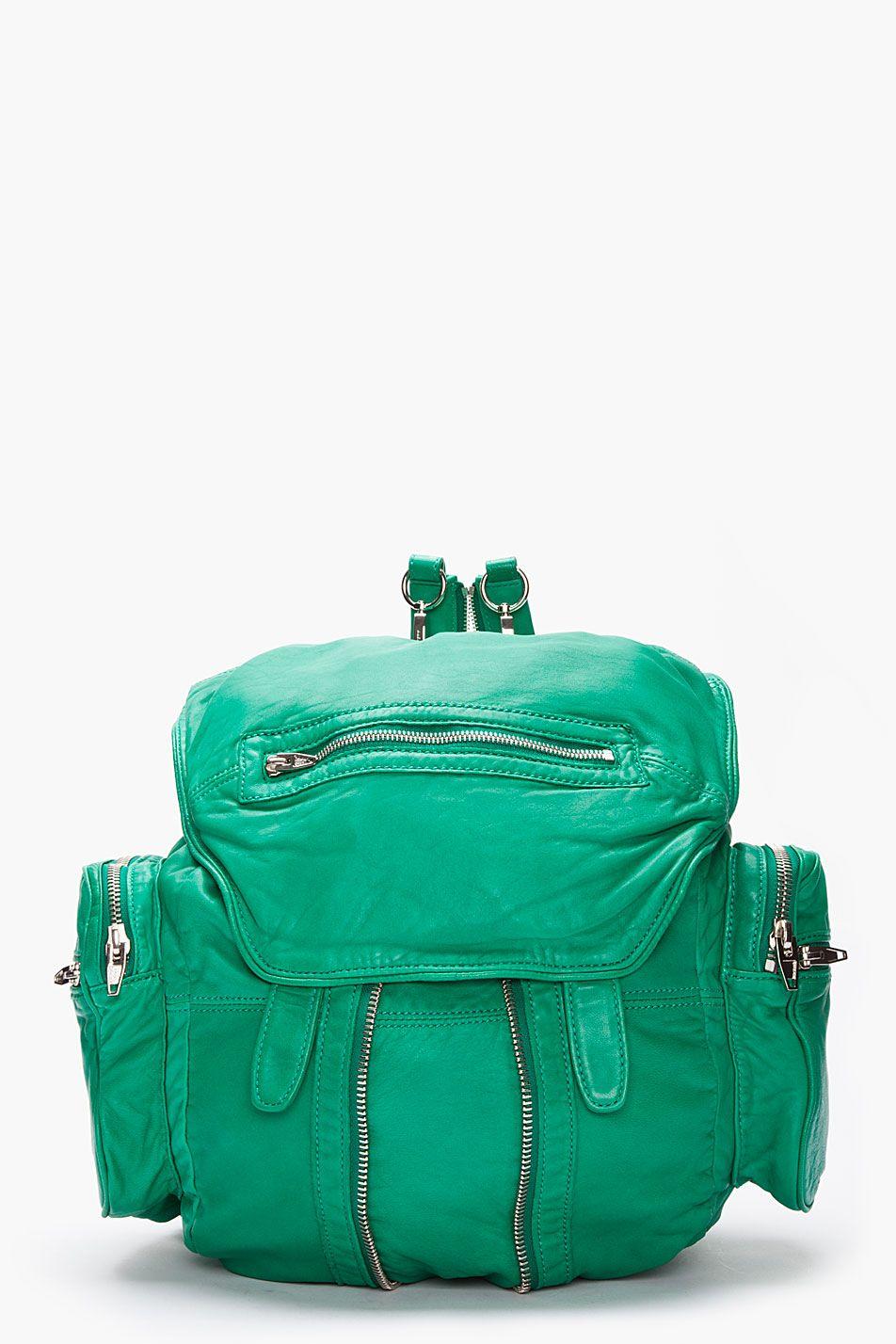 Alexander Wang Vine Green Washed Lambskin Marti Backpack