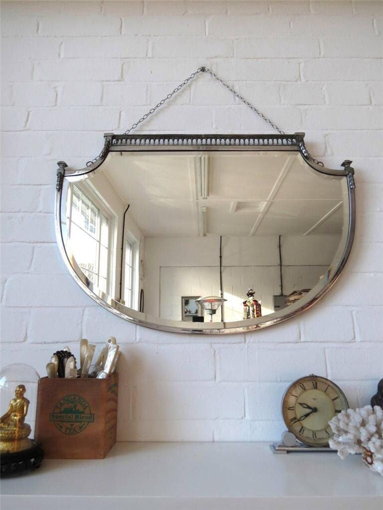 Vintage large art deco bevelled edge wall mirror lovely shape chrome frame wow by uulipolli