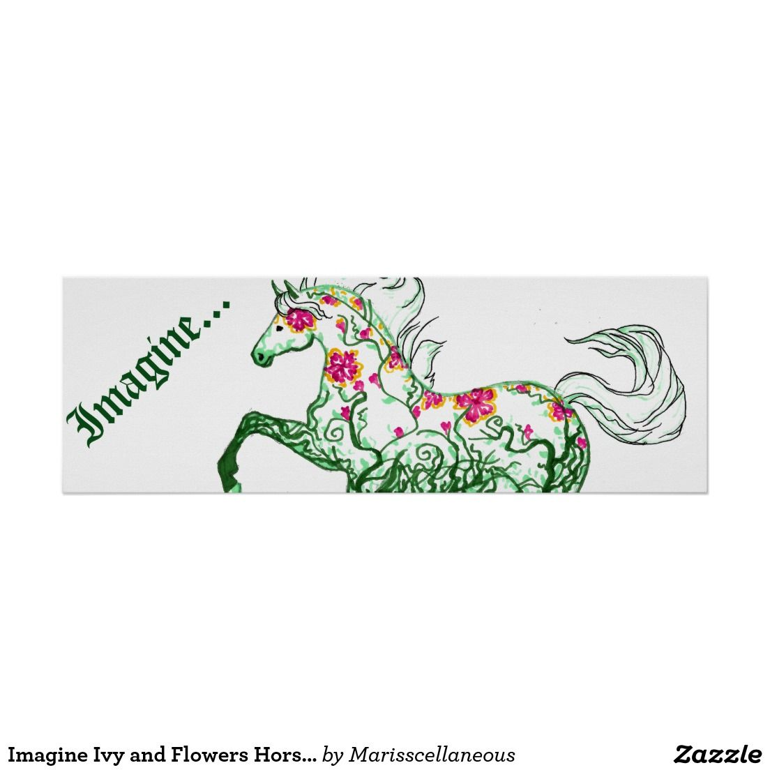 """Imagine Ivy and Flowers Horse 36"""" x 12"""" Poster"""
