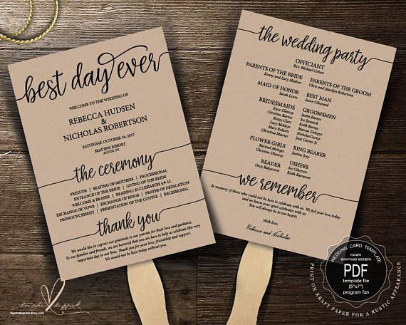 Best Day Ever Wedding Program FAN PDF Template Instant