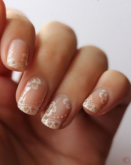 Natural Wedding Nails With White Floral Overlay