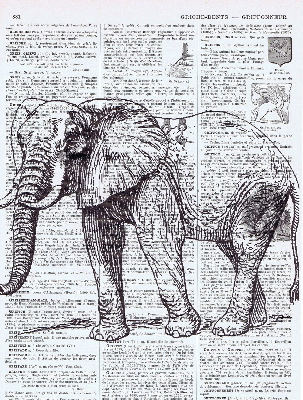 Elephant Deur Upcycled Repurposed Antique Book Pages Elephant Vintage