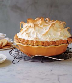 Pumpkin Meringue Pie Recipe (This pumpkin pie recipe with billowy mounds of meringue topping eliminates the need for whipped cream. Absolute pumpkin pie perfection.)