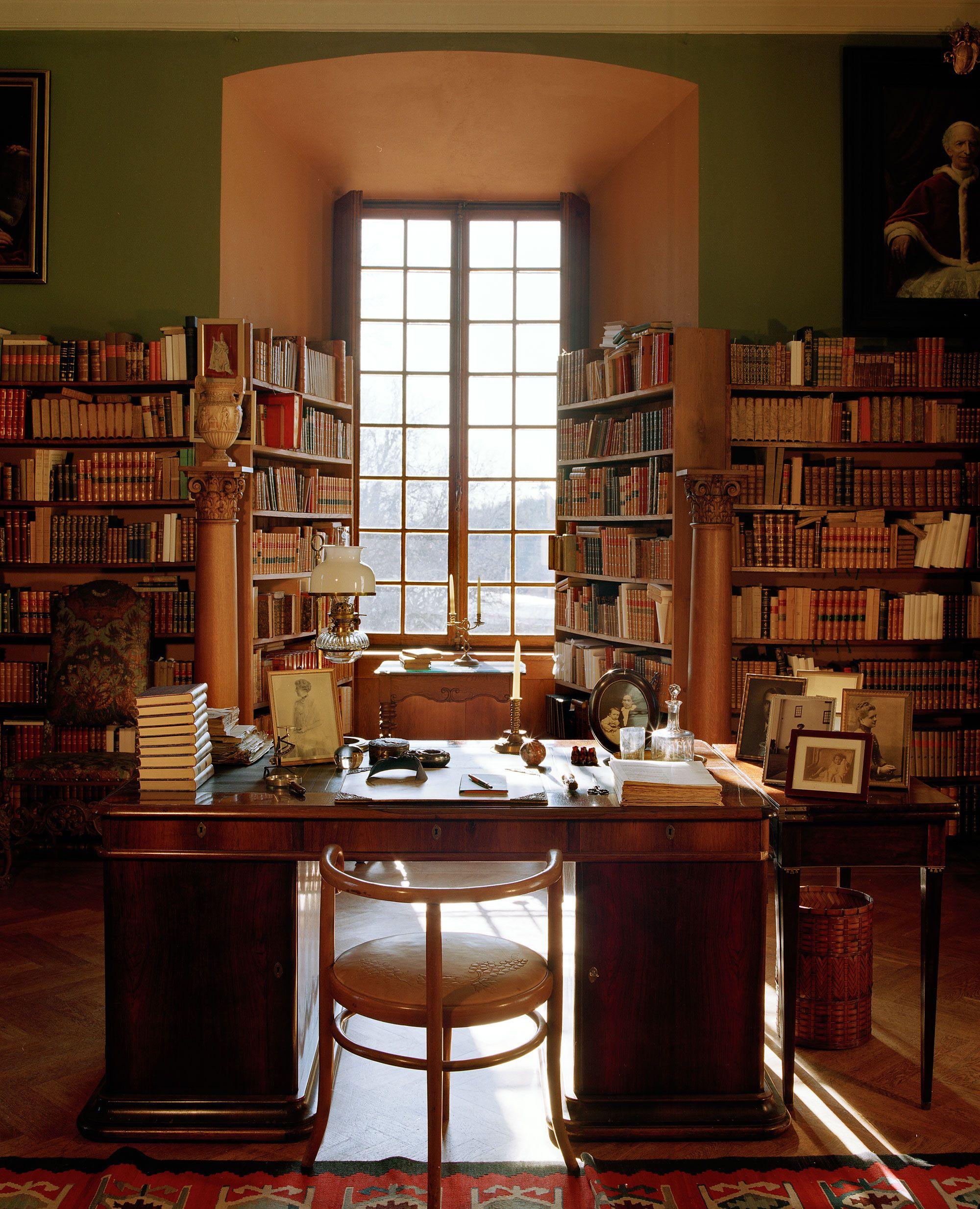 Cozy Study Room Ideas: Tyresö Slott (Castle), Sweden - The Library.
