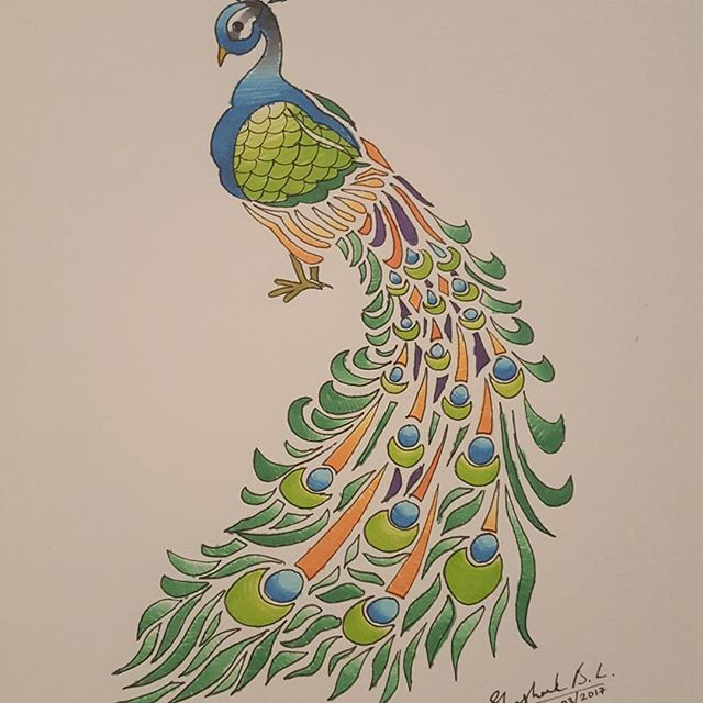 Adorable Peacock Sketch By Sketch Bookie Using Their Chameleons Pens Peacock Bird Sketch Drawing Illustration C Peacock Sketch Sketches Photo And Video