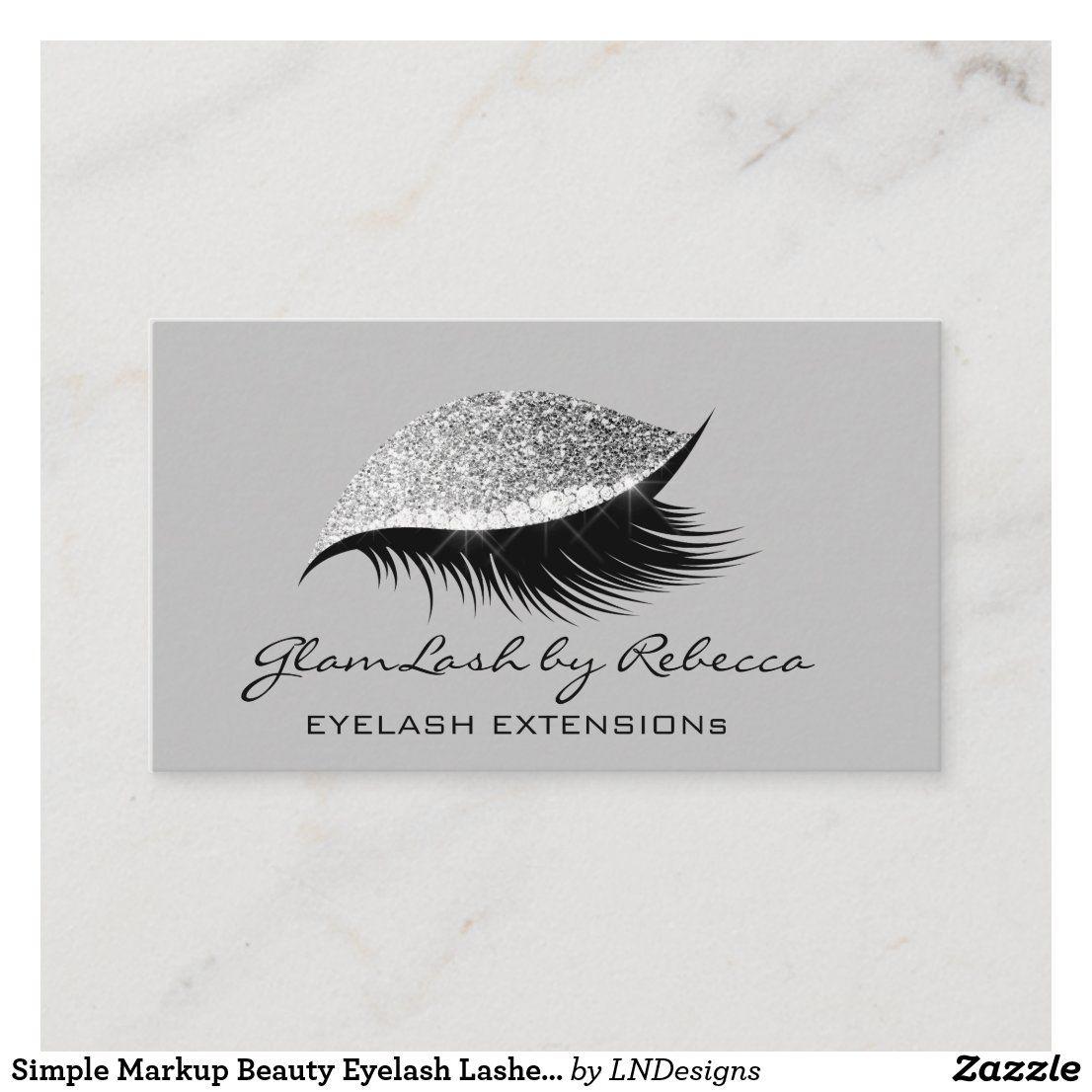 Simple Makeup Beauty Eyelash Lashes Glitter Silver Business Card   Zazzle.com