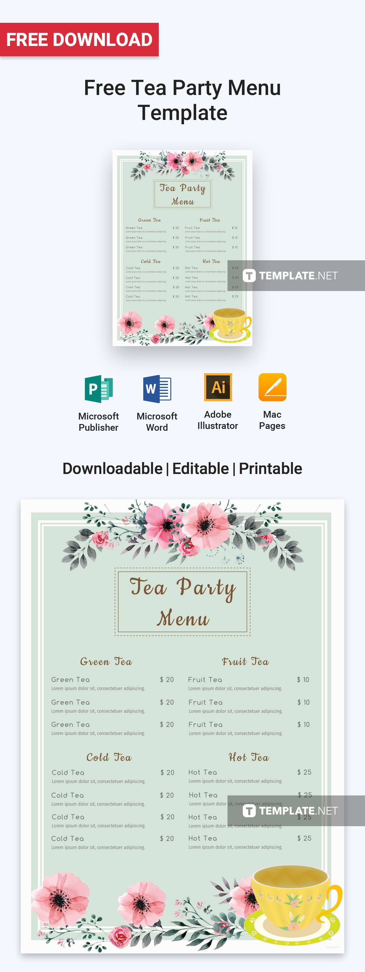 Free Tea Party Menu With Images Tea Party Menu Menu Template