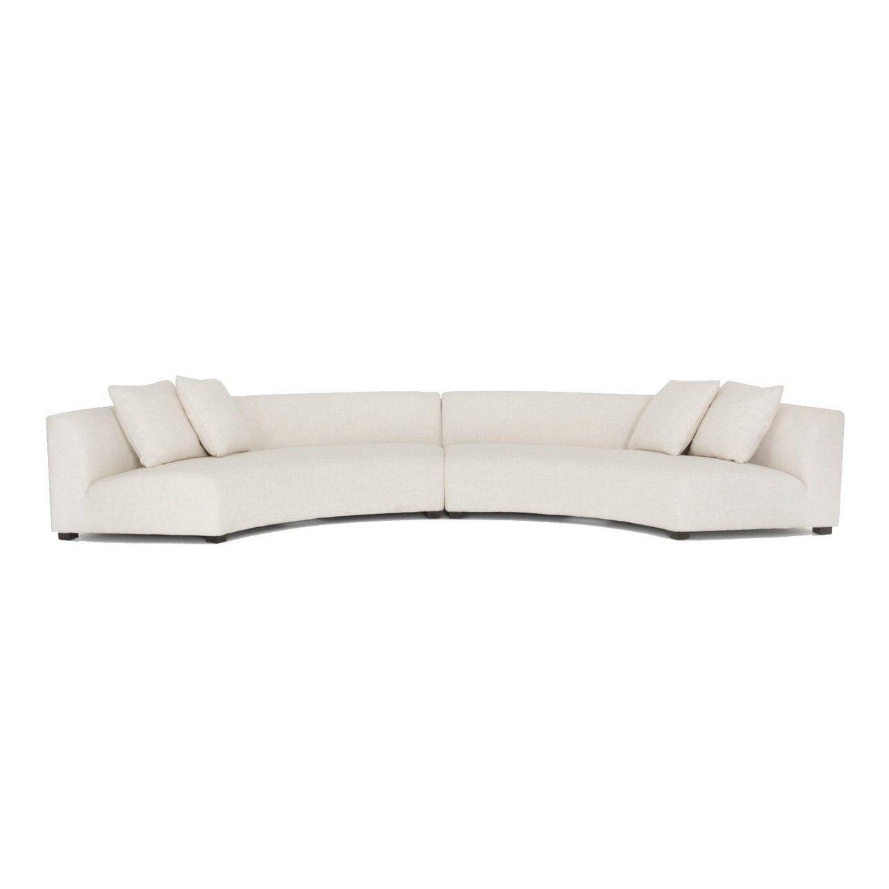 Liam Modern Cream 2 Piece Curved Sectional Sofa Sectional Sofa