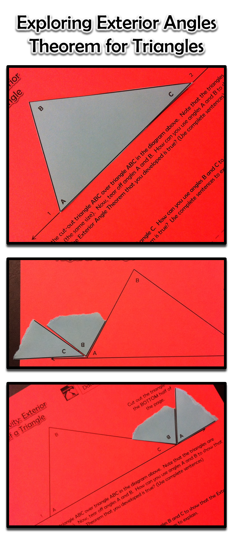 Exterior Angles Of A Triangle Inquiry Activity Activities Exterior Angles And Triangles