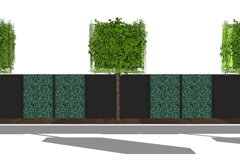 Sichtschutz HPL Hecke am laufenden Meter Spalierbäume und kastenförmig geschnittene
