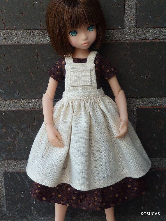 Dress and apron for Azone and Ruruko dolls body pure por Kosucas