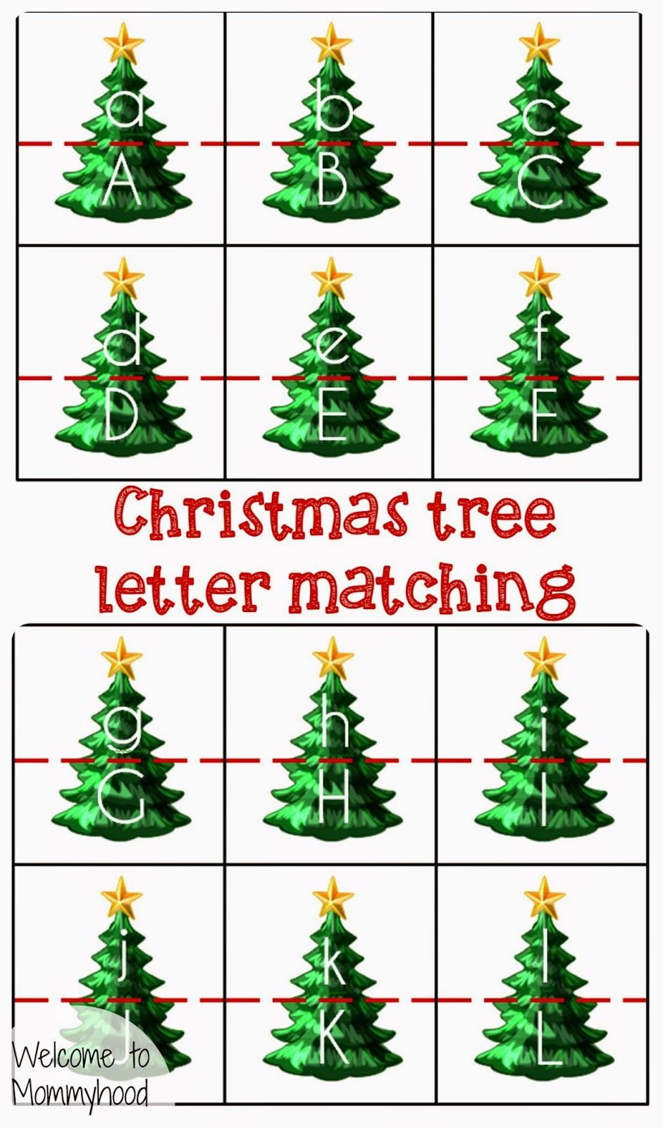 Christmas tree letter matching to Mommyhood