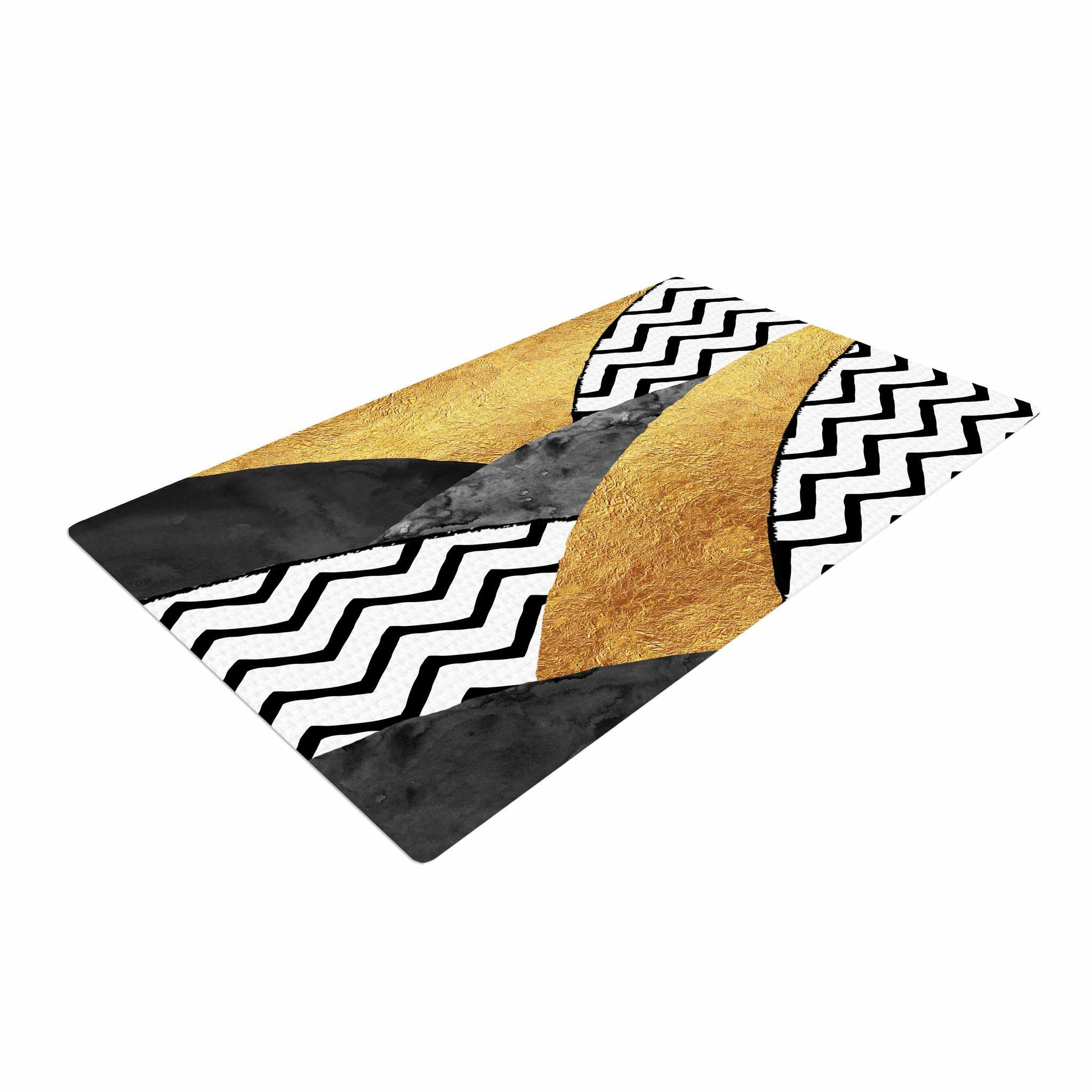 Zara Martina Mansen Chevron Hills Gold Black White Woven Area