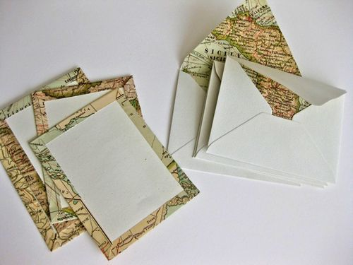 Use old maps to make personalized stationery or could use the same basic steps to make mats for framing. Also have a friend who uses maps for gift wrap. #style #shopping #styles #outfit #pretty #girl #girls #beauty #beautiful #me #cute #stylish #photooftheday #swag #dress #shoes #diy #design #fashion #Travel
