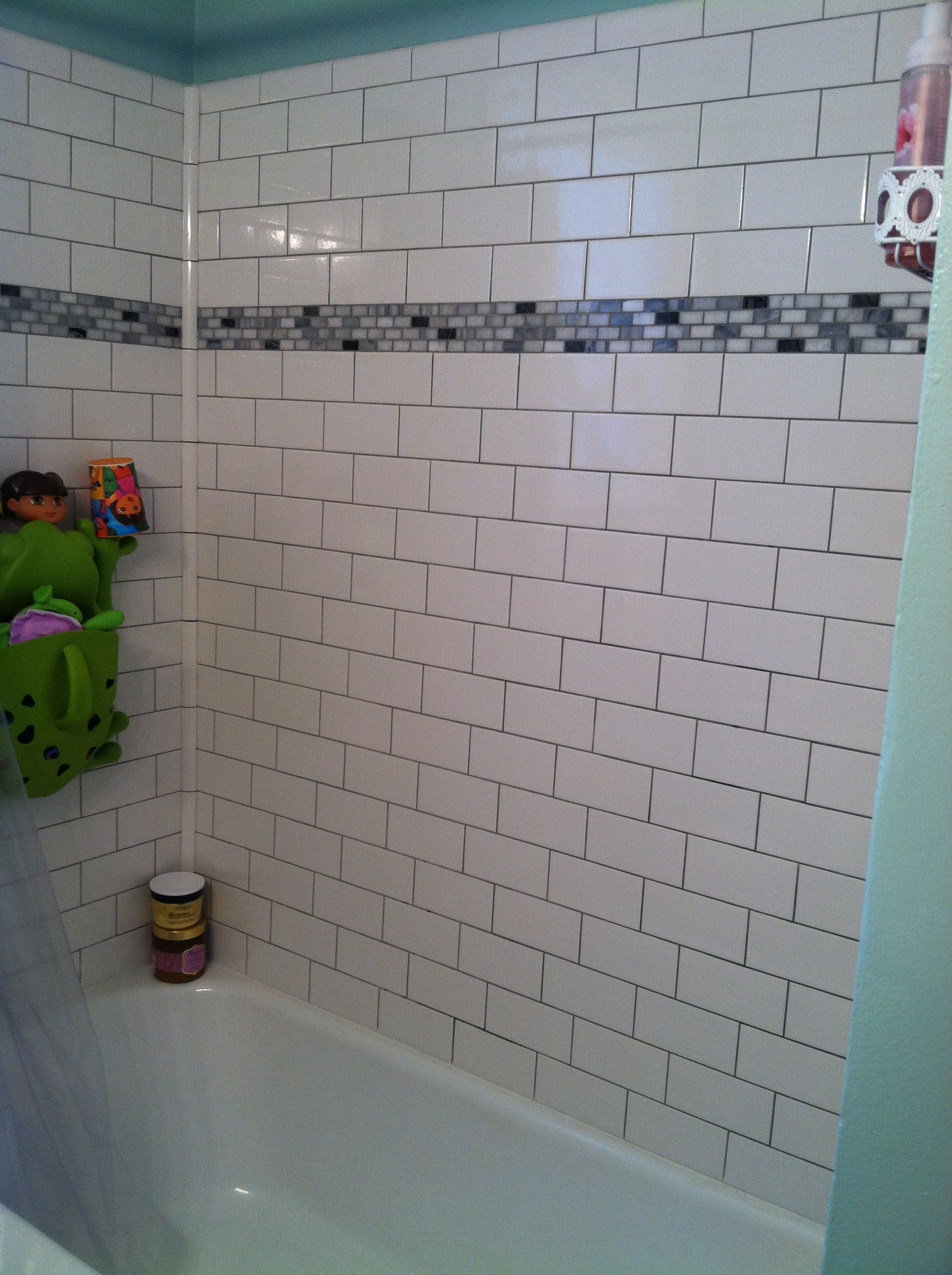 Subway Tile And Accent Strips Tiled Tub