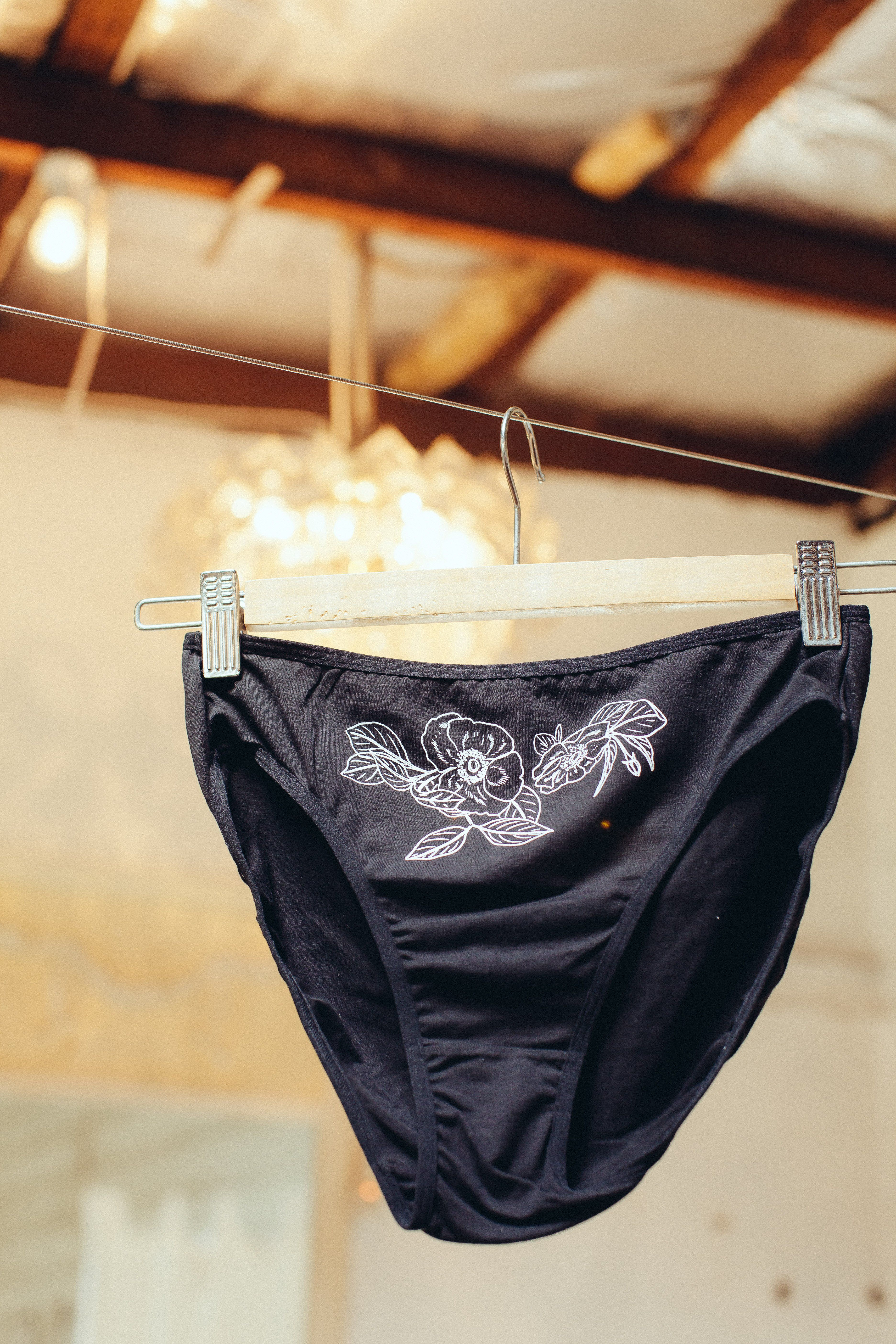 1cce2eba49ac4a High waisted black cotton underwear with white floral print. **Please note  no refunds on underwear**