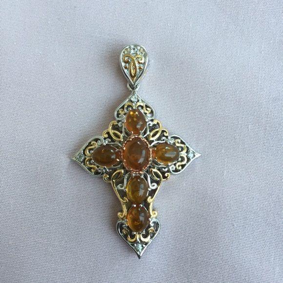 Two Tone Antique Style Cross Citrine stones. Brand new. Never worn. ROMANZA Jewelry Necklaces