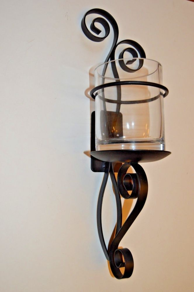 Details about DECORATIVE SCROLLED BLACK METAL CANDLE OR PLANT HOLDER ...