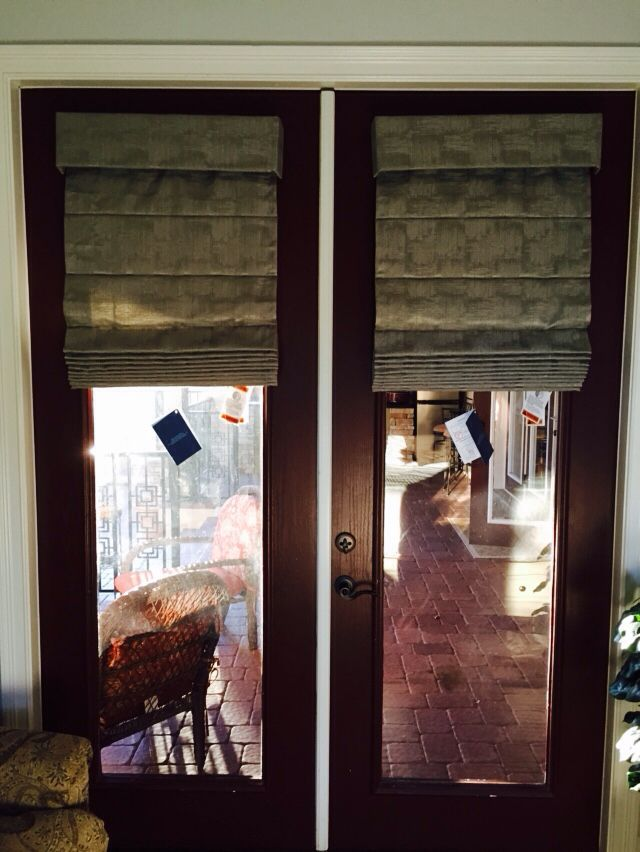 Cordless Knife Pleat Roman Shades For French Doors Available At Budget Blinds Shades For French Doors French Doors Budget Blinds Roman Shades