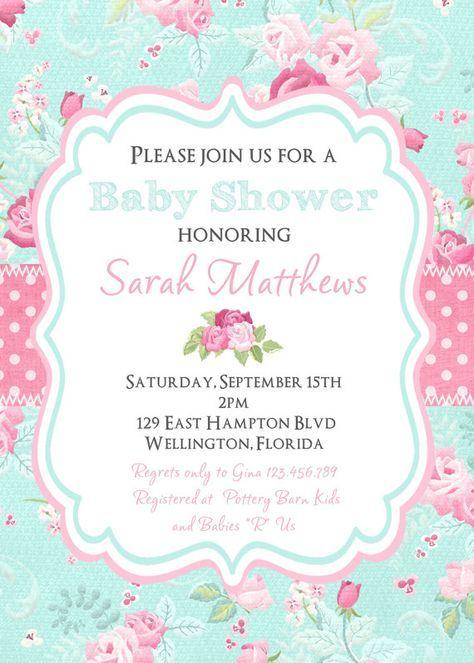 893ac9307ce67 Casa Chic bebé ducha invitación victoriana flores por 3PeasPrints Tarjetas  De Bautismo Nena