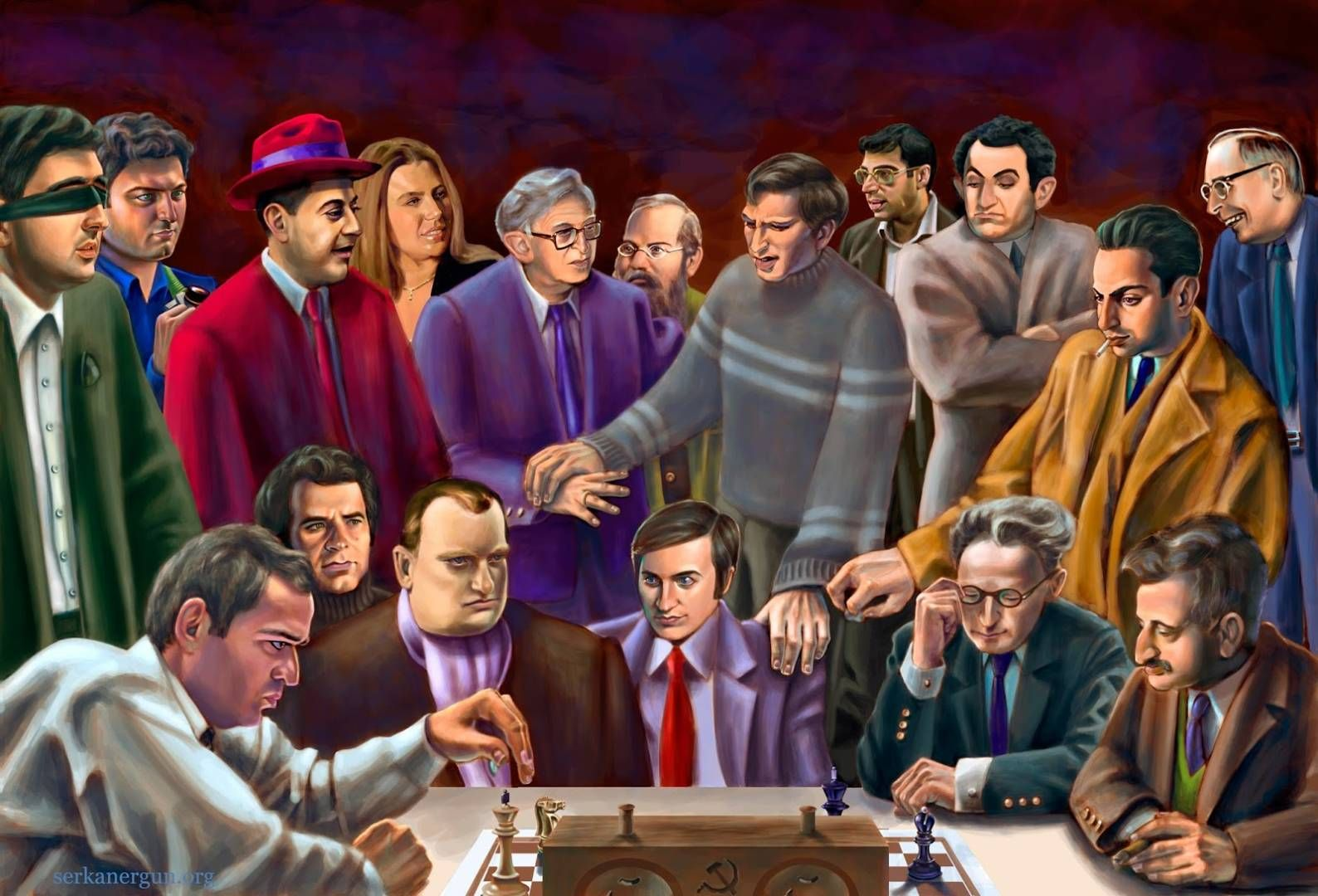 Chess miniature creating a videos of chess grand masters