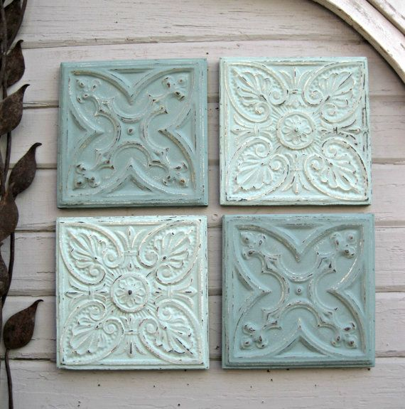 Tin Ceiling Tile Set 12 X 12 Framed Tiles Etsy Tin Ceiling Tin Ceiling Tiles Tin Tiles
