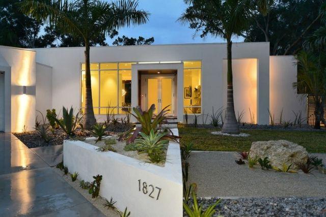 Weisses Flachdachhaus Eingeschossig Palmen Eingangsbereich Pflanzen