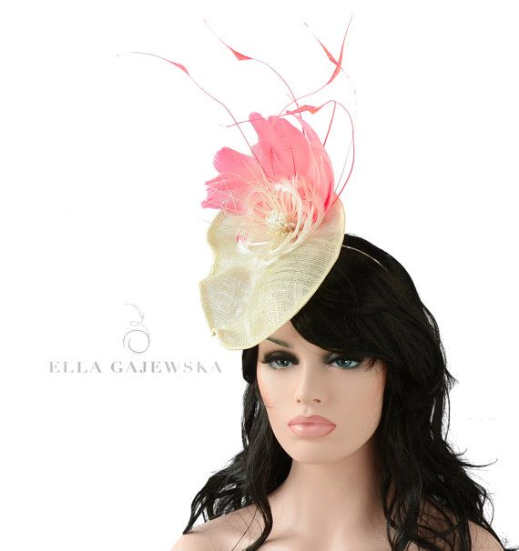 Ivory Straw Saucer Hat Races Headpiece  9abb479e42d4