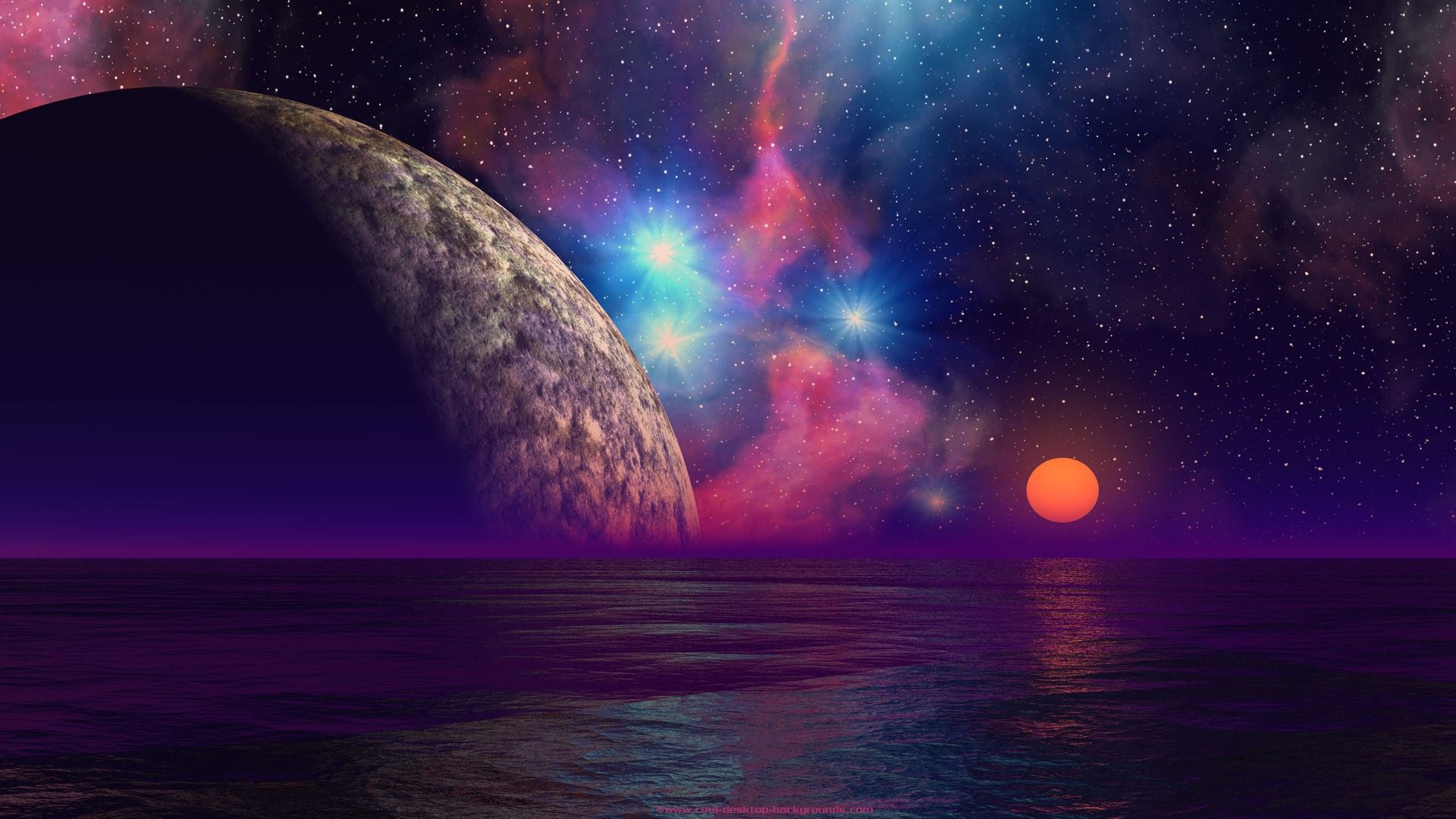 Planets background wallpaper ocean sunset for Outer space landscape