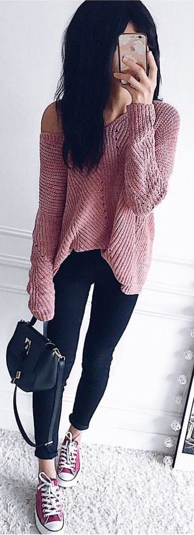 284fbeeb125eb0  winter  outfits pink knit off-shoulder long-sleeved top and black fitted  pants