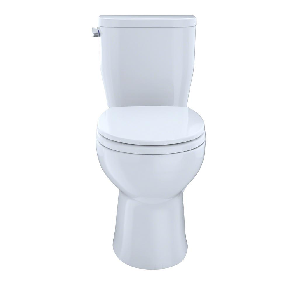 Toto Entrada 2 Piece 1 28 Gpf Single Flush Round Toilet In Cotton White Cst243ef 01 With Images Toilet Toilet Seat Toto