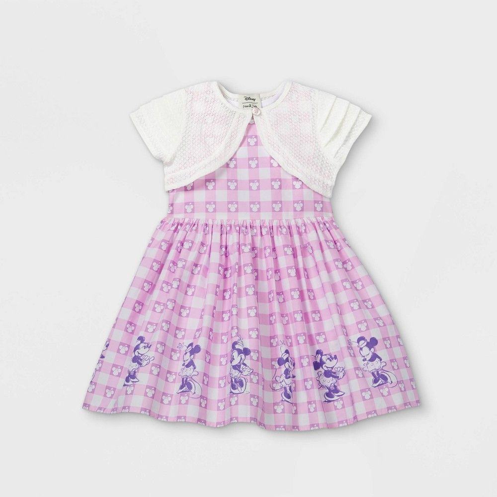 Toddler Girls Disney Minnie Mouse Gingham Border Sleeveless Woven Dress With Knit Shrug Purple 2t In 2021 Pink A Line Dress Woven Dress Disney Baby Clothes [ 1000 x 1000 Pixel ]