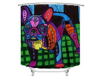 Free Shipping French Bulldog Shower Curtain Dog Shower Curtain