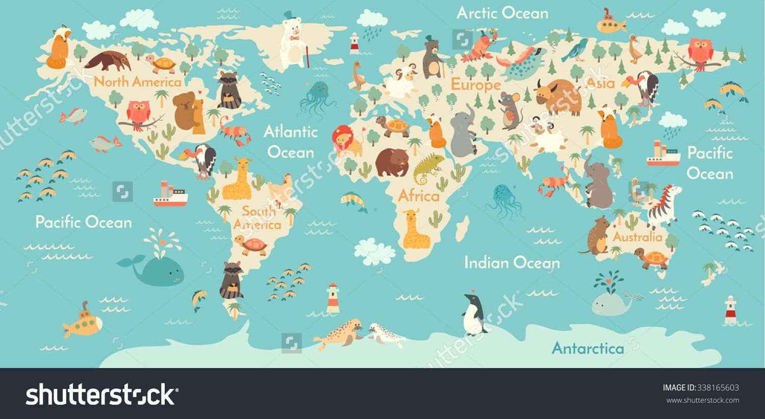 Animals world map world map for childrenkids animals poster animals world map world map for childrenkids animals poster continent animals gumiabroncs Images
