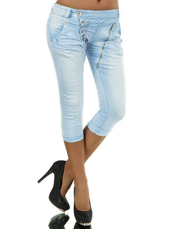 Damen 34 Capri Jeans Hose Shorts Damenjeans Hüftjeans