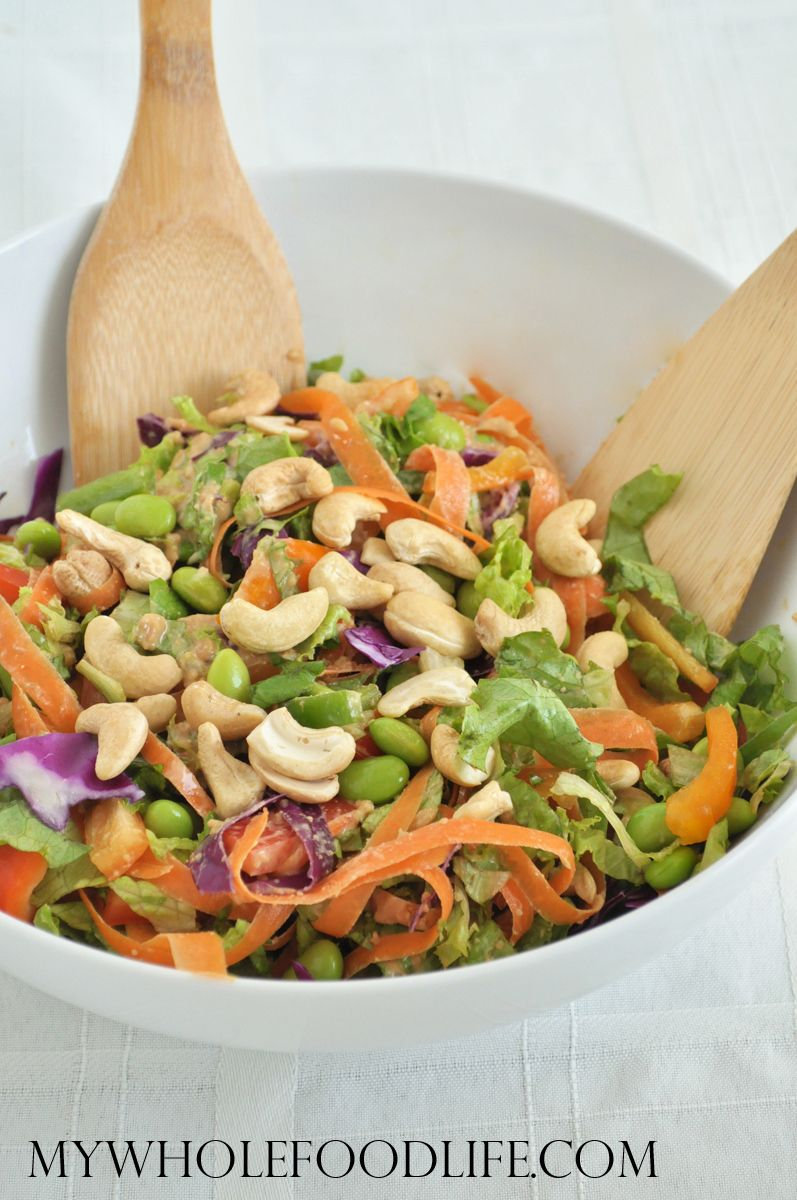 Asian Chopped Salad with cashews and a peanut ginger